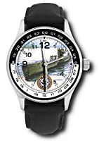 Rare German WW-II U-boat Das Boot Uboot Submarine Art 24-Hour Dial Collectible 44 mm Wrist Watch by superbrass.com