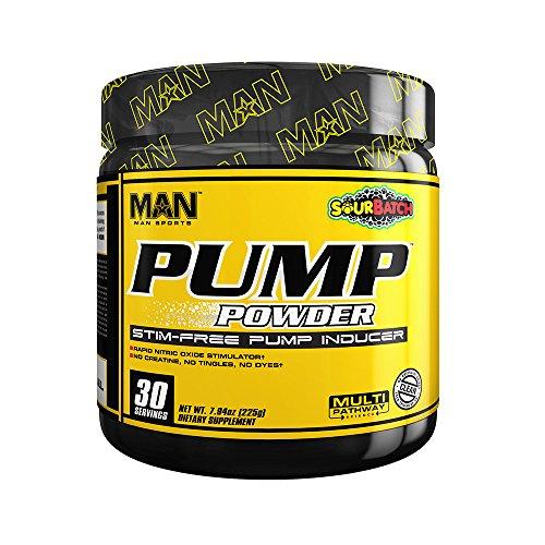 MAN Sports Pump Powder Stim-free Pre-Workout Supplement, Sour Batch, 225 Gram