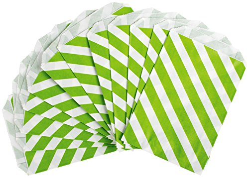 Party Partners Design 12 Count Paper Favor Bags, Lime Stripe