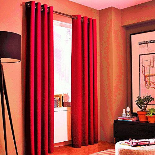 Gorgeous Home *DIFFERENT SOLID COLORS & SIZES* (#72) 1 PANEL SOLID THERMAL FOAM LINED BLACKOUT HEAVY THICK WINDOW CURTAIN DRAPES BRONZE GROMMETS (RED, 95