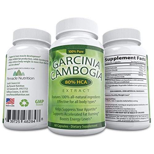 Insanely Potent Garcinia Cambogia Pure Extract! 80% HCA - Highest on Amazon - #1 Carb Blocker Supplement - Decreases Appetite, Increases Energy & Burns Fat Naturally - Contains A Whopping 1400mg 80% HCA w/ Potassium - 60 Capsules - Premium & All-Natural