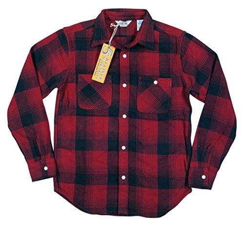(ファイブブラザー)FIVE BROTHER 長袖 バッファローチェック ヘビーネルシャツ Made in INDIA