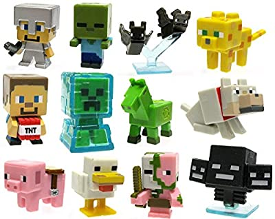 "Minecraft Mystery Mini Stone Series 2 Minecraft Set of 12 1"" Mini Figures by Mattel Toys"