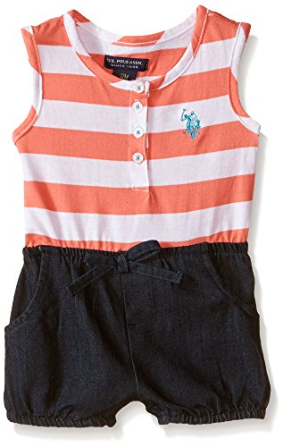 U.S. Polo Assn. Toddler Girls Striped Jersey and Denim Short Romper, Georgia Peach, 3T Embroidered Jersey Romper