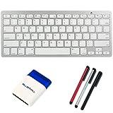 BIRUGEAR Ultra Slim Silver Bluetooth Wireless Mini Keyboard + 3x Stylus (Silver / Black / Red) + Mini Brush for... by BIRUGEAR