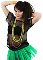LADIES 80S MESH TOPS FANCY DRESS ACCESSORY 1980'S RAVE TSHIRT FISHNET ROLLER DISCO 80'S CLUBBING IN 5 COLOURS BLACK, NEON PINK, LIME GREEN, ORANGE, YELLOW (BLACK)