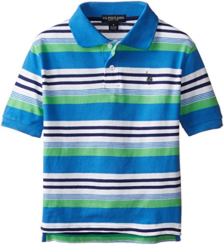 U.S. Polo Assn. Big Boys' Multi Color Striped Pique Polo, Ocean Spray, 8
