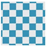 MAMENCHI フロアマット つなげてカラフル 全長約174×174(cm) ブルーベージュ 正方形マット36枚(6×6) エッジマット短20枚 エッジマット長4枚 M-0066