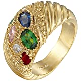 Fashion Women Jewelry Multi-Colored Yellow Gold Plated Cocktail Ring Size 6 7 8