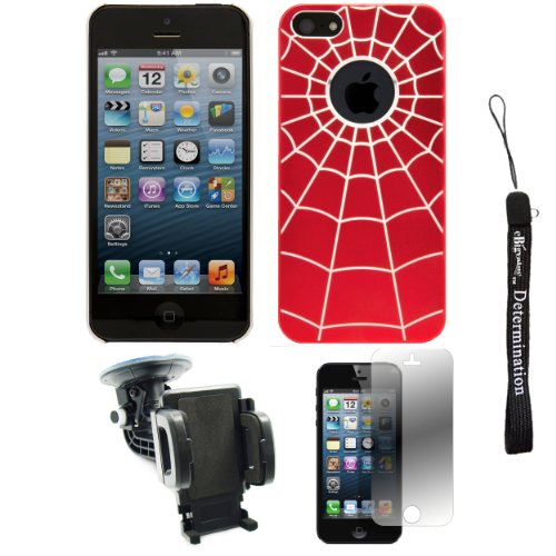 Red Spider Web Design One-Piece Back Protective Cover For Apple Iphone 5 Ios (6) Smart Phone + 360° Car Rotatable Windshield Mount Kit + Apple Iphone 5 Screen Protector + An Ebigvalue Tm Determination Hand Strap