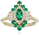 10k Yellow Gold Marquise Created Emerald and Created White Sapphire Cluster Ring, Size 7