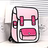 New Fashion Womens 3D Jump Style 2D From Cartoon Paper Bag Comic Backpack