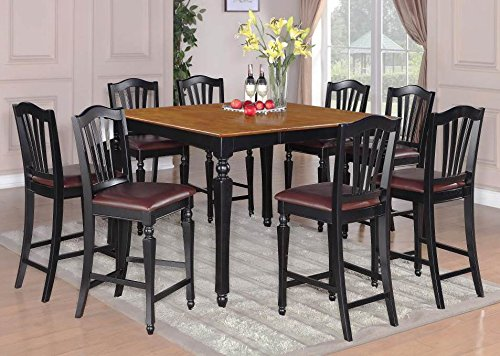 Counter Dining Table and Stool Set in Black and Cherry Finish