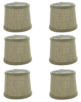 Upgradelights 6 inch set of 6 burlap with trim drum for Drum shaped lamp shades