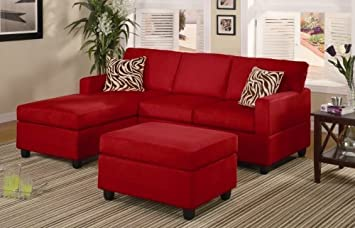 Furniture2go F7668 Microfiber Plush Red Sectional Sofa + Ottoman - Chaise, 2-Seat Sofa, Cocktail Ottoman