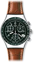 Swatch YCS429 dark phoenix black chrono dial brown leather strap men watch NEW