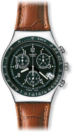 Swatch Mens Dark Phoenix Black Dial Brown Leather Strap Watch