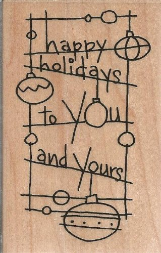 Holiday Wave Wood Mounted Rubber Stamp (M175)