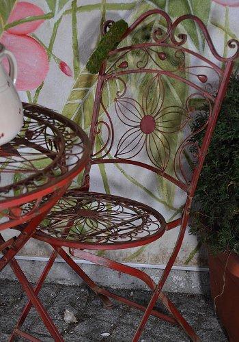 Vintage-Gartenstuhl-Metall-Eisen-Terrassenstuhl-Gartensessel-Gartenmbel-weinrot