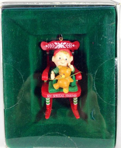 Vintage Enesco My Special Friend Elf In Rocking Chair Ornament front-1059406
