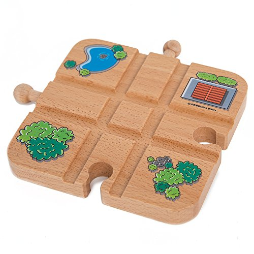 Orbrium Toys Cross Track for Wooden Railway Fits Thomas Brio Melissa & Doug Imaginarium