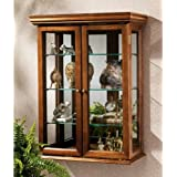 26in Collectors Mirror Backed Hardwood Antique Collectible Display Wall Curio