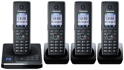 Panasonic KX-TG8564EB Quad Corldess DECT Telephone set with Colour screen and Answer Machine. Black Friday & Cyber Monday 2014