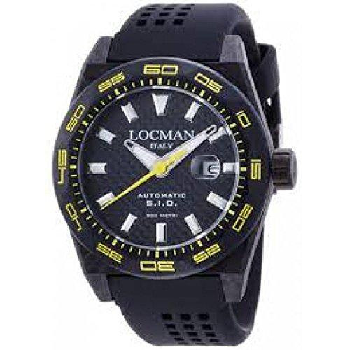 Reloj Locman Stealth 0216V2cbcbnkys2K automático carbono quandrante negro correa silicona