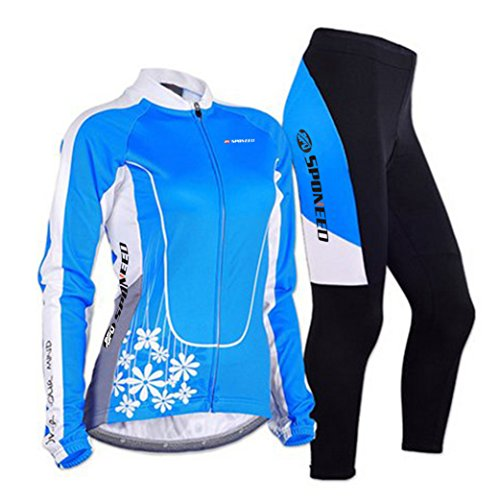 Sponeed Women's Cycle Jersey Bike Clothing Gel Padded Long Sleeve Mysteriousness Size S US Blue (Rock Cycling Jersey compare prices)