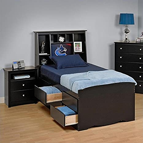 Prepac Sonoma Black Queen Bookcase Platform Bed 3 Piece Bedroom Set - Twin / Firm