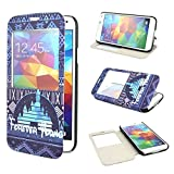 ivencase View Window Painting Art Design PU leather Flip Cover Case For Samsung Galaxy S5 SV