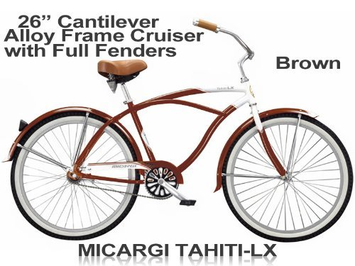 Men\'s Tahiti LX 26 Beach Cruiser Aluminum Frame Coaster Brake Single ...