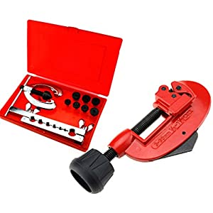 New 9pcs Plumbers Plumbing Pipe Tubing Flaring Tool Set With Tube Cutter 3-30mm