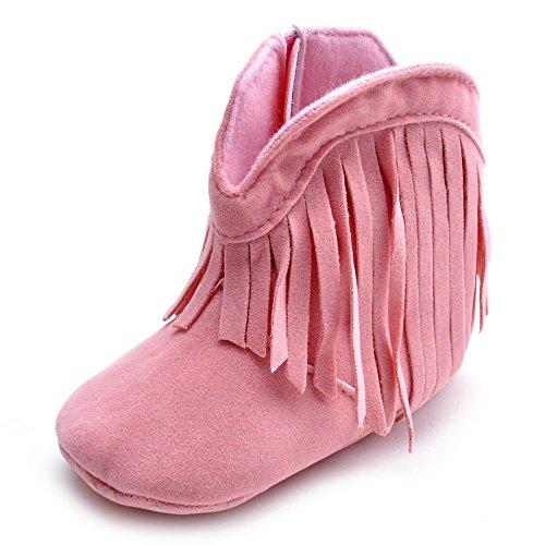 Kuner Baby Girl's Tassel Soft Bottom Non-slip Warm Boots Toddler Shoes (13cm(12-18months), Pink)