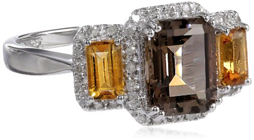Sterling Silver Classic Smoky Quartz, Citrine, and Diamond Ring (1/10 cttw, I-J Color, I2-I3 Clarity), Size 7