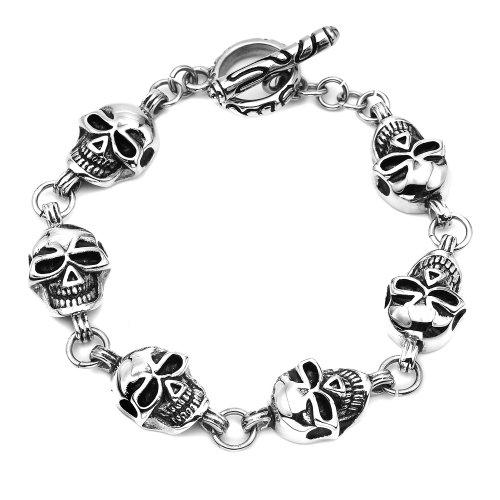 Stainless Steel Skull Bracelet, 8