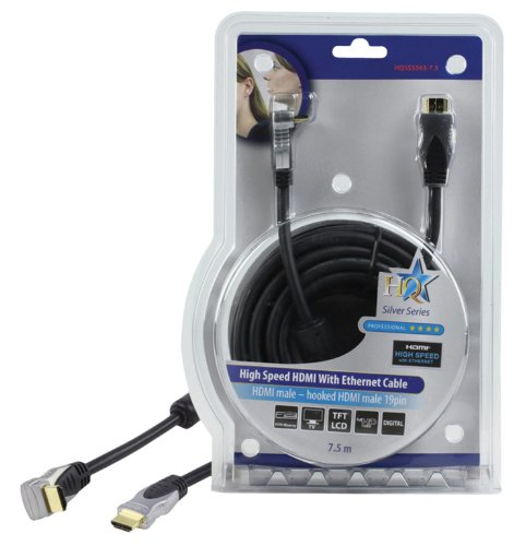 HQ 7.5m High Speed HDMI Cable with Ethernet for Connecting PS3, XBox 360, Blu Ray DVD, Sky HD, DVD Recorders, Virgin Media HD, Freesat HD
