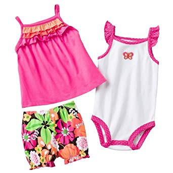 Carters Baby Girl 3 Piece Ruffled Tank Top, Bodysuit & Bloomers Set, Pink, 6 Months