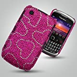 NEW BLACKBERRY CURVE 8520 / 9300 DIAMANTE CASE - SILVER LOVE HEART MOTIF PINK DIAMANTE CASE - MOBILE PHONE ACCESSORIES BY OLIVIASPHONES