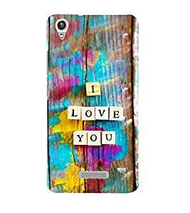 printtech I Love You Wooden Quote Back Case Cover for Lava Pixel V1