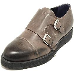 2065G scarpa antracite UNO 8 UNO 181 calzatura doppia fibbia uomo shoes men