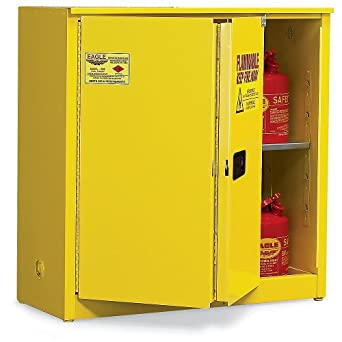 """Eagle Double-Wall Flammable Liquids Safety Cabinet - 43X18x44"""" - 30-Gallon Capacity - Self-Closing Sliding Doors - Red - Red"""