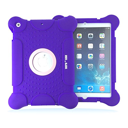 iPad Air Case, iPad 5 case, Case for iPad Air, Armor Series Shockproof Drop Resistant Anti-slip Soft Silicone Portable Light Weight Drop proof Protective Case Cover for Apple iPad Air iPad 5 5th (Purp