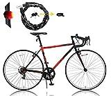 CANOVER(カノーバー) ロードバイク 折りたたみ自転車 シマノ7段変速 LEDライト CAFR-046 AMOR(アモール) ブラック/レッド (シリコンリアライト シボレーチェーンロック セット) ランキングお取り寄せ