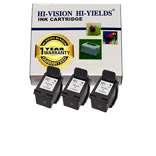 Hi-Vision Hi-Yields ® Remanufactured Ink Cartridge Replacement For Hp 901 (3 Black, 3-Pack) For Hp Officejet J4540 All-In-One Printer, Hp Officejet J4550 All-In-One Printer, Hp Officejet 4500 Wireless All-In-One Printer - G510N, Hp Officejet 450