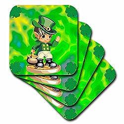 3dRose cst_60032_3 St. Patricks Day Leprechaun-Ceramic Tile Coasters, Set of 4