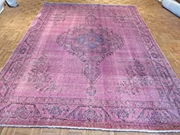 9\'5 x 12\'6 HAND KNOTTED WORN OVERDYED PURPLE PERSIAN TABREZ ORIENTAL RUG G2099