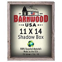 BarnwoodUSA Rustic Reclaimed Barn Wood 11x14 Shadow Box Frames - Dimensions 15.5 x 12.5