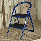WOLF STEEL FOLDING LOOP BACK 2 TREAD SAFETY STEP LADDER / KITCHEN FOOT STOOL STEPLADDER - With Anti Slip Tread and Feet