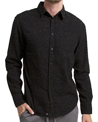 Micros Men's Midnight Long Sleeve Speckled Flannel Shirt with Patch Pockets
